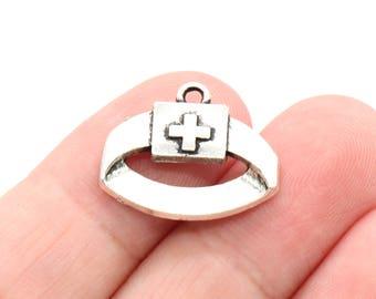 8 Pcs Nurse Hat Charms Antique Silver Tone 16x20mm - YD1404