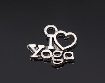 I Love Yoga Charms  silver tone  Yogi OHM OM Symbol Meditation  charm pendant 14x13mm 25pcs-