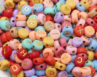 Multicolor Round Alphabet Letter Beads, Multicolored Beads with Gold Letters, Plastic Letter Beads, Acrylic Round Name Beads, Size 7mm #203