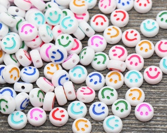 Multicolor Smiley Face Round Beads, Emoji Beads, Happy Face Beads, Plastic Round Beads Size 7mm #365