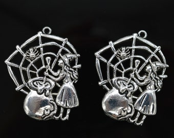 4 Witch Charms Antique Silver Tone Large Size Broomstick SC3888