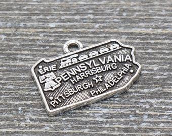 10pcs-silver Ohio State charm silver tone America Map charm