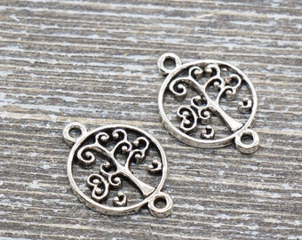 Pack Of 10 Pcs Tree Of Life Charms Antique Tibetan Bronze Tone 2 Sided TE2633
