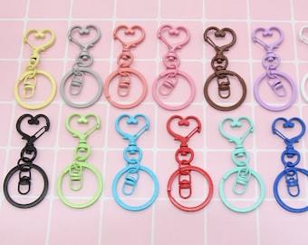Multicolor Heart Key Chain, Swivel Lobster Key Chain Clasp with Key Rings, Heart Clasp Key Chain with Split Rings Key Rings
