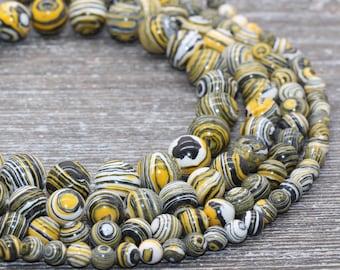 25  White /& Lemon Yellow Striped Round Resin Acrylic Beads  6mm