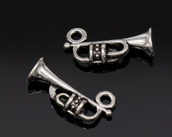 Set of 3 Silvertone Trumpet Red Charm Beads