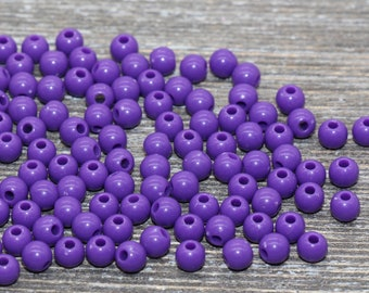 Smooth and Faceted Purple Beads Purple Faceted Round Beads and Smooth Purple Round Beads Vintage Purple Bead Mix 10mm-6mm Round Beads