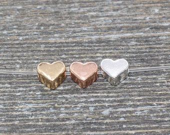 Small Gold Heart Bead,Sterling Silver Dainty Heart Charm,Rose Gold Heart Bead,Heart Charm for Beaded Bracelet,Bulk Charms for Jewelry Making
