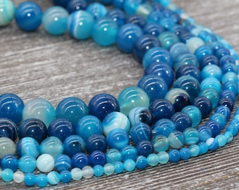 """New 6mm 8mm 10mm Natural Color Stripe Agate Round gemstone Loose Beads 14.5/"""""""