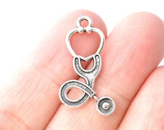 Bulk 50 Pieces Stethoscope Charms Doctor Charms Antique Silver Tone 15x27mm - YD1887