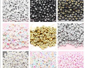 Alphabet Letter Acrylic Beads, Round Acrylic Beads, Plastic Letter Beads, Name Bracelet Beads, ABC Letter Beads, Name Beads, Name Inital 7mm