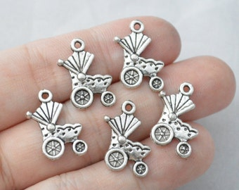 12 Pcs Stroller Charms Baby Carriage Charms Antique Silver Tone 17x18mm - YD0371