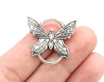 Embellishment 20 or 40 Antique Silver tone Butterfly /'created for you/' Charms