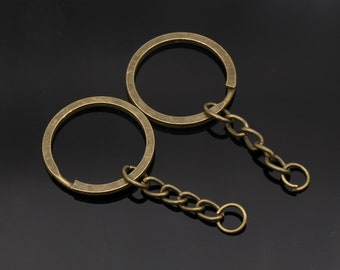 Bulk 40 Bronze Split Key Chain Rings with Chain and Jump Ring de6f5a1066