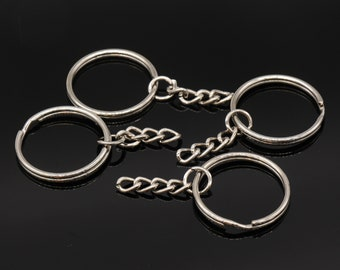 Bulk 50 Pcs 28mm Silver Round Key Chain Rings Key Rings with Attached Chain e1c32c9a07