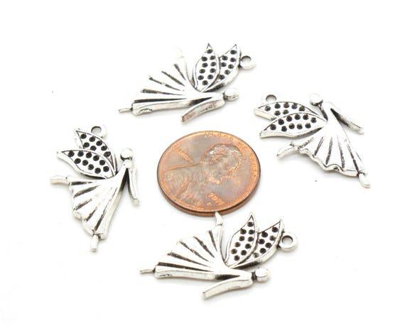 24Pcs Tibetan Silver Tone Lovely Butterfly Animal Charms Pendants 23x26mm