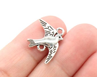 10 Pcs Dove Connector Charms Bird Charms Antique Silver Tone 2 Sided 21x17mm - YD1667