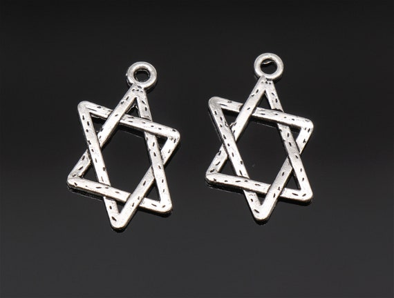 BULK 50 Star of David charms antique silver tone R9