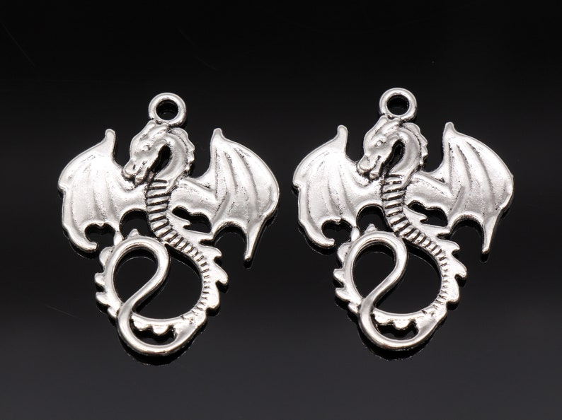 4 Dragon Charms Winged Dragon Charms Antique Silver Tone image 0
