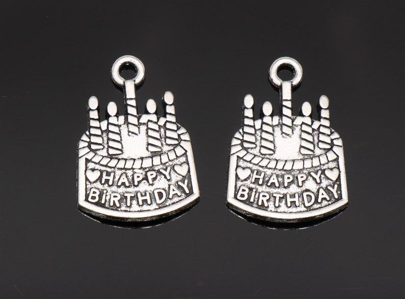 b1b8901b6 Bulk 30 Pcs Happy Birthday Charm Birthday Cake Charms Pendants | Etsy