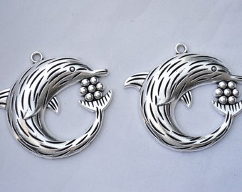 2 Pcs Large Dolphin Charms Antique Silver Tone 50x55mm - YD0427