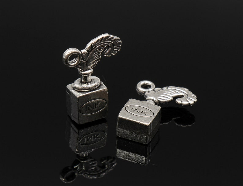 Bulk 20 Quill and Ink Bottle Charms Pen Charms Antique Silver Tone 3D 14x20mm YD1696