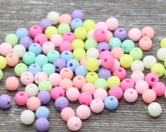 6mm Pastel Multicolored Gumball Beads, Round Acrylic Loose Beads, Bubblegum Beads, Chunky Beads, Smooth Round Plastic Beads #778