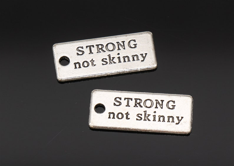 Bulk 40 Pcs Strong not skinny Charms Antique Silver Tone 2 Sided 22x8mm YD1434