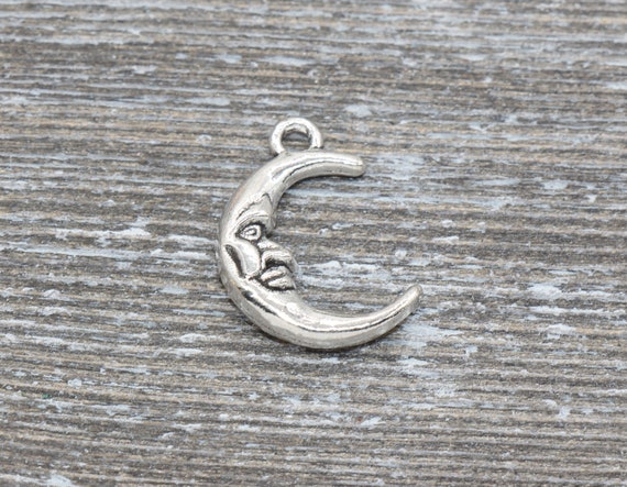 Moon and Face Charm Pendants 22mm 2 Moon Charms Antique Silver