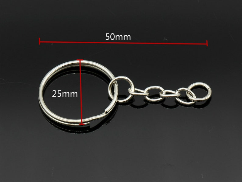 1 25mm Split Key Chain Rings 10 Pcs Silver Round Key Chain Rings Key Rings with Attached Chain