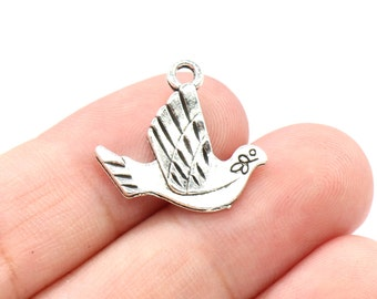 8 Pcs Bird Charms Dove Charms Antique Silver Tone 2 Sided 21x20mm - YD2136