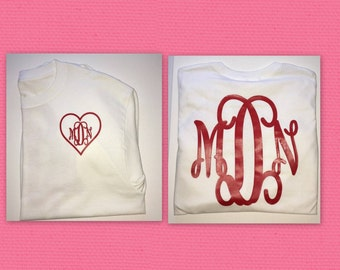 Valentines day monogram longsleeve shirt