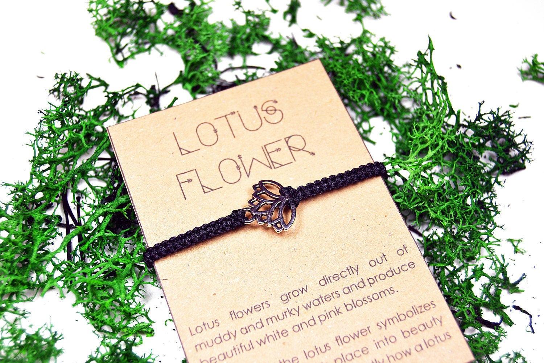Lotus flower bracelet handmade macrame bracelet symbol etsy zoom izmirmasajfo