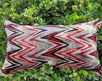 Natural pure silk organic ikat Uzbekistan. Double side Pillow cover,pillow case,cushion from Handwoven Uzbek silk velvet Ikat