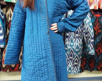 Uzbek ikat robe ,chapan.Handwoven Ikat Adras Cotton chapan from Uzbekistan
