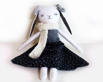 Rabbit Handmade Cloth Doll, Unique Cotton Doll. Fabric Rag Doll, White Bunny Plush, Stuffed Animal Toy, Girls Friendly Doll, Birthday Gift