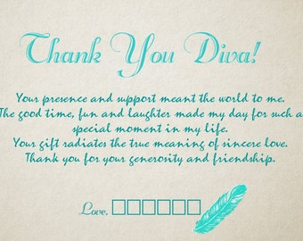 Thank You - Divas - Thank you note - Turquoise feathers - Feathers -