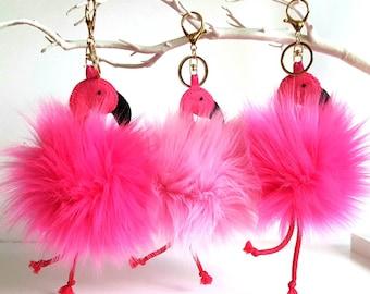 Flamingo bag hanger, Pink vegan pom key ring, Hanging decoration Flamingo lover present, Purse charm, Birthday gift for her, Mingo key chain