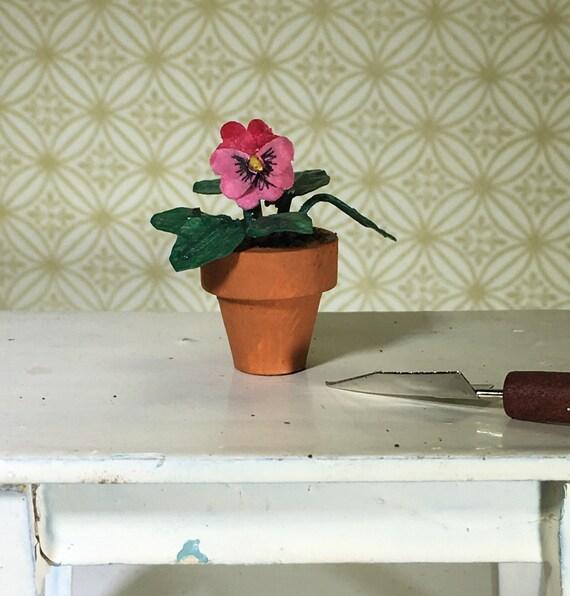 1:12 SCALA Pansy Flowers giallo doll house miniature fiori giardino