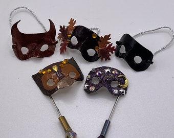 Miniature masks dollhouse Halloween masquerade masks scale 1/12