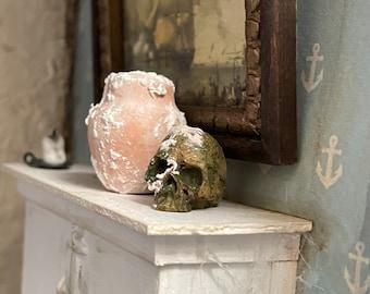 Miniature barnacle crusted skull curiosity  1/12 scale curiosity dollhouse miniature