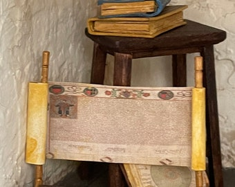 Miniature old aged paper scroll medieval artifact for dollhouse attics 1/12scale