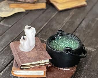 Miniature science alchemy potion cauldron  laboratory 1 inch scale dollhouse miniature
