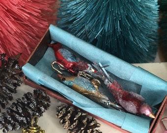 Miniature set of vintage style bird Christmas tree ornaments 1/12 scale dollhouse