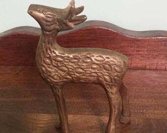"""Small 4"""" Brass(?) Deer Figure Decoration"""