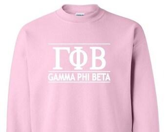 sorority sweatshirt gamma phi beta sweatshirt imprinted sweatshirt sorority gift greek letter sweatshirt