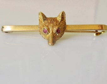9ct Gold Fox with Ruby Eyes Bar Brooch