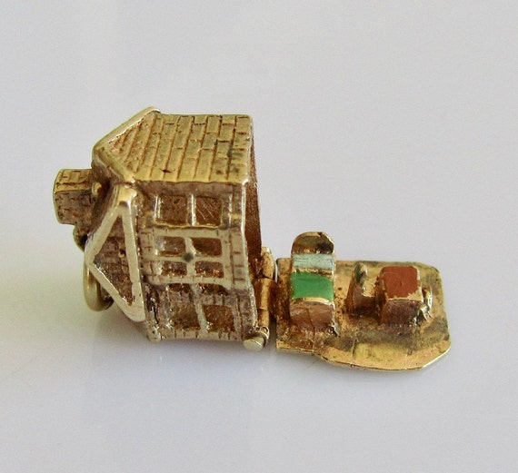 9ct Gold House and Furniture Enamel Opening Charm