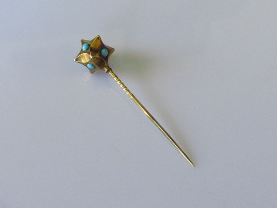 Edwardian 15ct Gold Turquoise Tie (Stick) Pin
