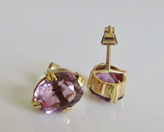 Rope Twist Oval Amethyst 9ct Yellow Gold Drop Stud Earrings